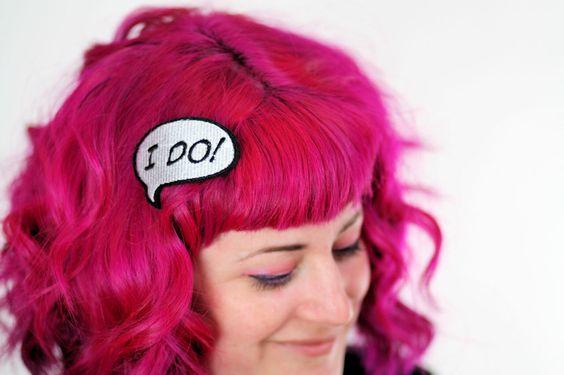 Bridal Shower Hair Clip, Hen Party, I DO hair barrette by JanineBasil on Etsy https://www.etsy.com/listing/99960738/bridal-shower-hair-clip-hen-party-i-do