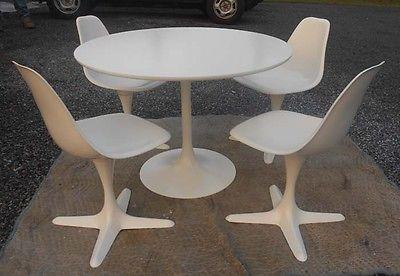 Rare Burke Tulip Table Amp 4 Swivel Chairs Mid Century Mod Star Trek