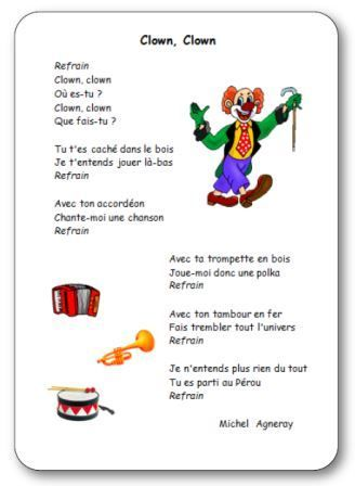 Comptine clown clown de michel agneray halloween et clowns for Par la fenetre ouverte comptine