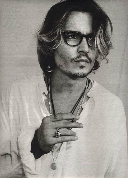 Johnny Depp, male actor, glasses, fingers, hand, long hair style, eye candy, sexy guy, steaming hot, celeb, famous, portrait, photo b/w.