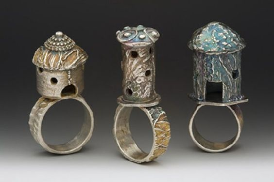 Very cool.: Fairy House, Birdhouse, Jewels Rings, Castle Rings, Hobbit House, Silver Rings, House Rings, Jewelry Rings