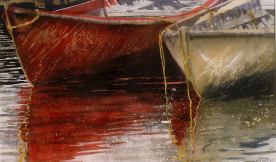 """dories 21 20"""" x 30"""" micheal zarowsky watercolour on arches paper / private collection"""