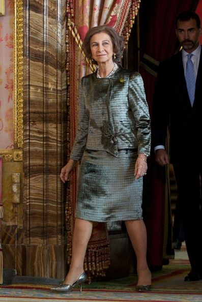 Queen Sofia of Spain attends Spain's National Day Royal Reception at the Zarzuela Palace on 12.10.13 in Madrid, Spain.