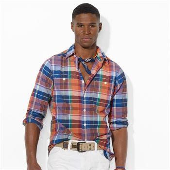 Polo Ralph Lauren Madras Point-Collar Workshirt #VonMaur #PoloRalphLauren #Royal #Orange #Blue #ButtonUp