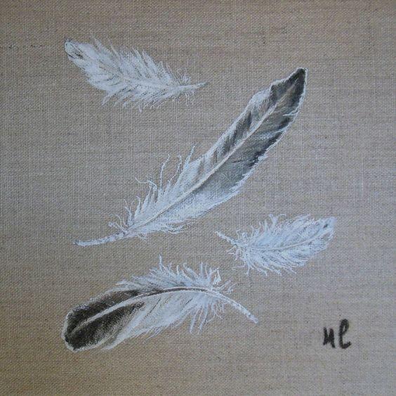 Tableau plumes peinture sur toile de lin toile - Tableau peinture sur toile ...