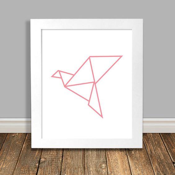 New to HappyHippoArts on Etsy: Bird Art Print Geometric Art Origami Crane Pink Nursery Art Animal Nursery Art Printable Wall Art Downloadable Poster - 8x10 11x14 (6.75 CAD)