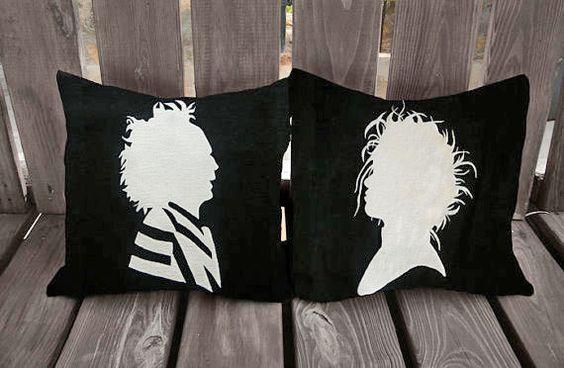 Beetlejuice Pillow, Edward Scissorhands Pillow, Tim Burton Pillows, Tim Burton, Beetlejuice, Edward Scissorhands, pillows