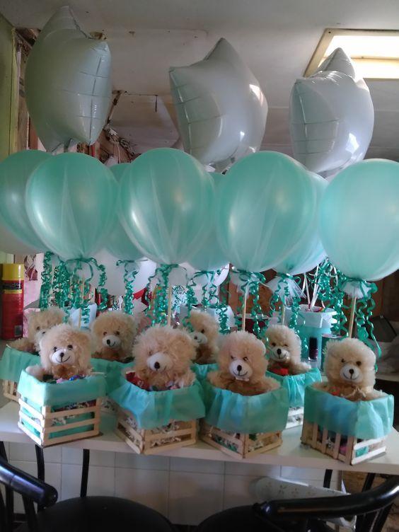 Globos Y Ositos Para Tu Baby Shower Bebeazul Top Baby Shower Balloons Baby Shower Decorations For Boys Baby Bear Baby Shower