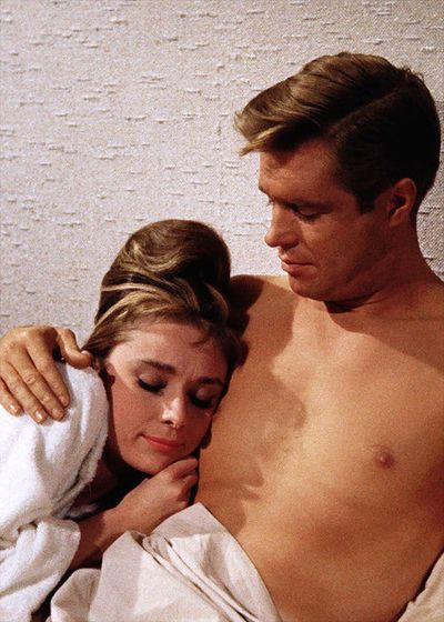 """Audrey Hepburn and George Peppard, """"Breakfast at Tiffany's""""... George Peppard is also Col. Hannible Smith from the original A-Team... MIND BLOWN."""