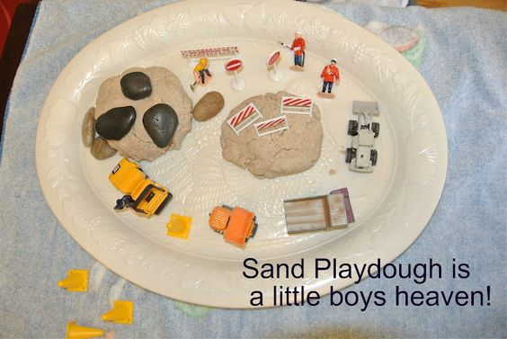 Frogs and Snails and Puppy Dog Tails: Sand playdough with construction play theme