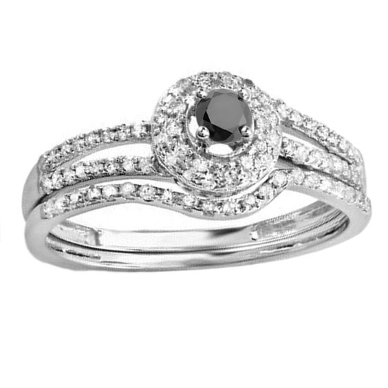 Elora 14k White Gold 1/2ct TDW White and Black Diamond Halo Bridal Ring Set (H-I, I1-I2)