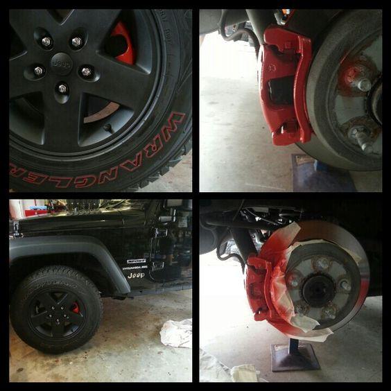Jakki's JK plasti dip my rims and painted brake calipers I cant stop pimping lol ♥ my Jeep #CaliperCovers #MGP #Brembo