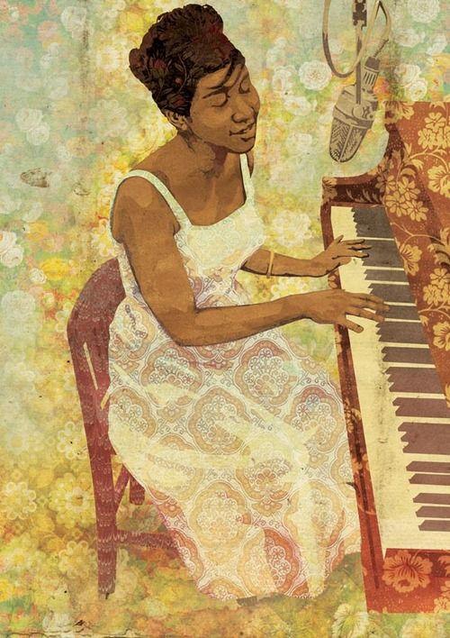 Illustration of Aretha Franklin for Tundra Books
