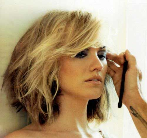 Layered Wavy Bob This color would probably work well too. Dark underneath, and very light where the grey is.  Cute Look