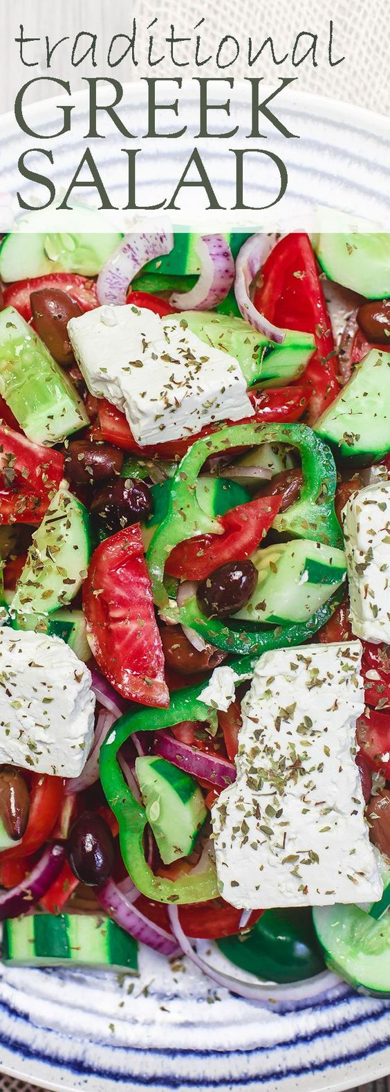 Traditional Greek Salad Recipe   The Mediterranean Dish. Simple, authentic Greek salad with juicy tomatoes, cucumbers, green peppers, creamy feta cheese and olives. Seasoned with oregano and dressed in extra virgin olive oil. A must try from TheMediterraneanD...