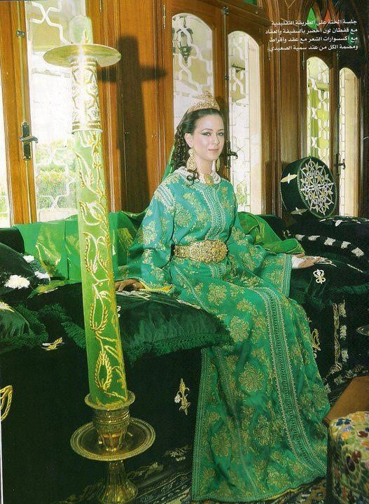 Moroccan wedding dress, one of many a bride wears during her wedding day.