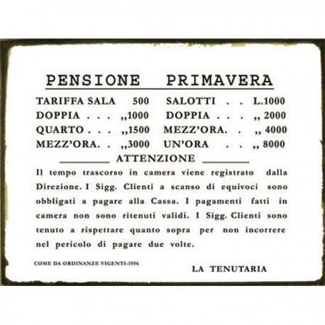 TARGA LATTA BORDELLO CASINO TARIFFARIO  CASA TOLLERANZA TARGHE LATTA