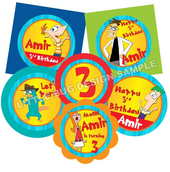 Phineas and Ferb Printable Cupcake Toppers Printable and – Phineas and Ferb Birthday Card