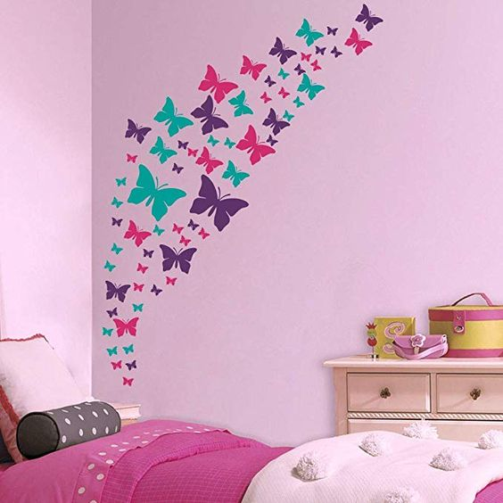 Amazon.com: Jeyfel Decals: Butterfly Wall Decals- Purple, Pink & Turquoise Set. DIY Decoration. Beautiful Butterfly Wall Stickers. Girls, Nursery, Room Decor.: Home & Kitchen