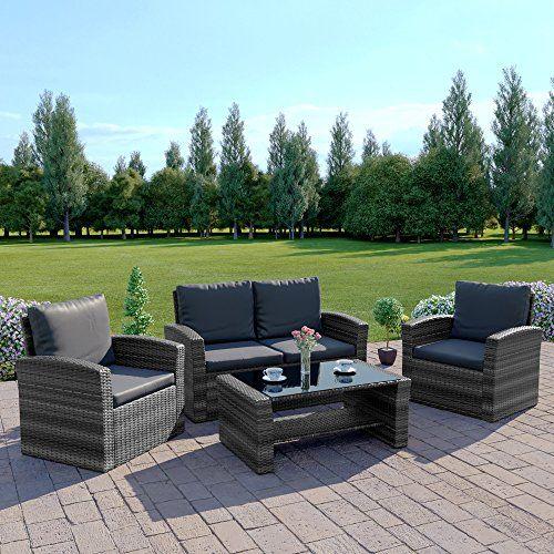 Abreo Mixed Grey Rattan Weave Sofa Set, Grey Rattan Garden Furniture Patio Sofa Chair Set Conservatory Alfresco