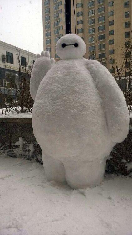 Baymax snow sculpture #snowSculpture #snow #winter #sculpture #cartoon