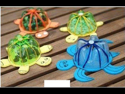 Dulcero tortuga reciclado dia del ni o favarit video - Manualidades con botellas de plastico faciles ...