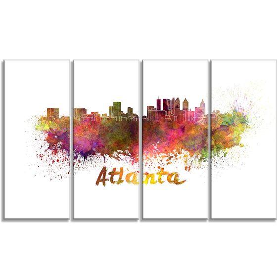 Atlanta Skyline Cityscape 4 Piece Graphic Art on Wrapped Canvas Set