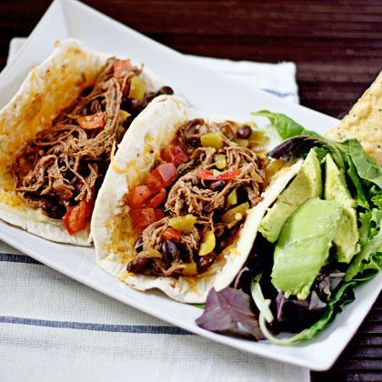 Shredded Beef and Bean Slow-Cooker Tacos - used bourginon meat, added a can of tomatoes