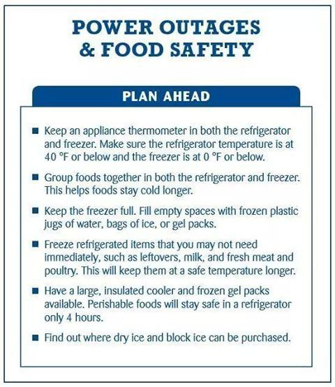 Plan Ahead Power Outages Food Safety Ahead Food Outages Plan Power Poweroutagetip Ahead Food Ou In 2020 How To Plan Power Outage Tips Power Outage
