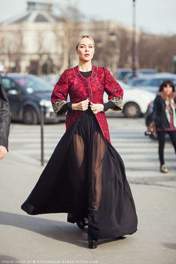 Ulyana Sergeenko: Feminine and Quirky Street Style ... brocade coat with sheer dress