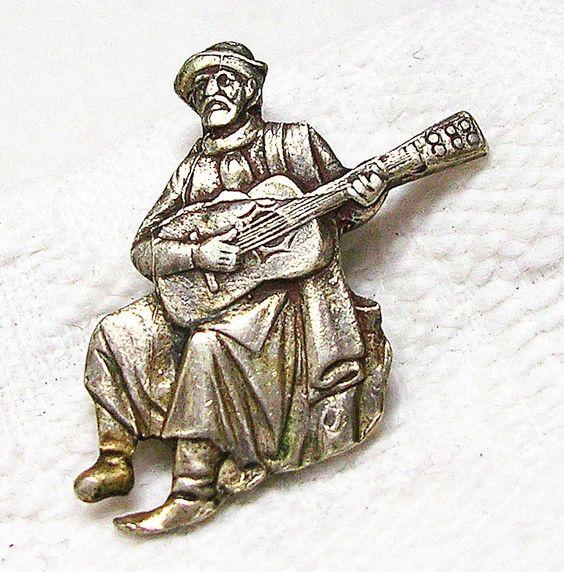 "ButtonArtMuseum.com - RARE Antique Mexican Sterling Silver Realistic Figural Button ""Guitar Player"""