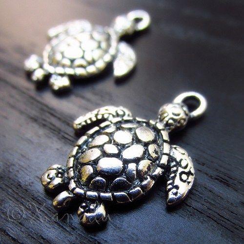 10PCs Turtle Pendant Charms - Wholesale Ocean Silver Pendants - C2891
