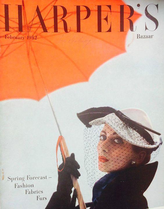 Della Oake on the cover of Harper's Bazaar, 1952. Photo by Richard Dormer, Image via Pinterest.