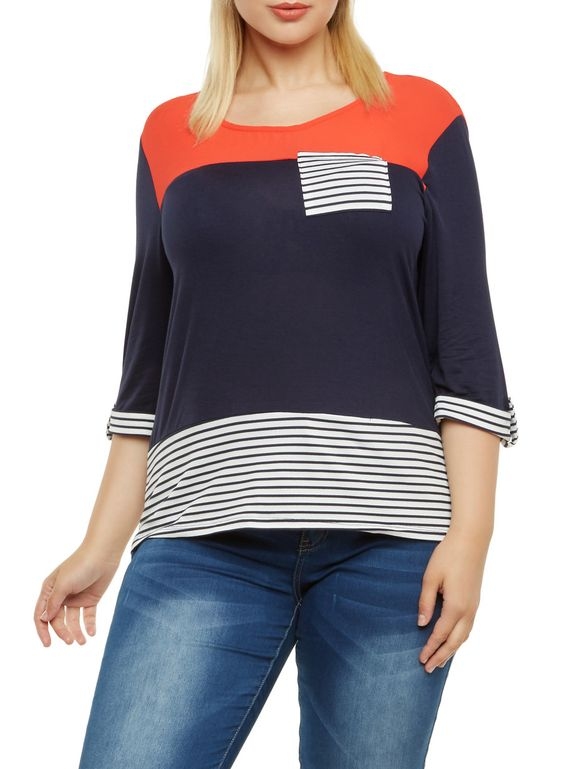 Plus Size Striped Top with High-Low Hem,RUST