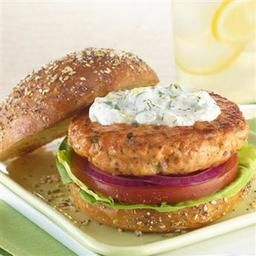 Salmon Burgers with Dill Cream Cheese Topping  - Price Chopper Recipe