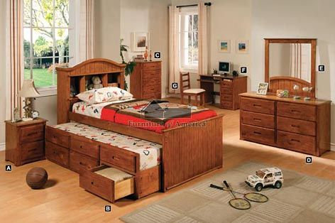 A.M.B. Furniture & Design :: Bedroom furniture :: Bedroom Sets :: Wood Bed Sets :: Platform Bed Sets :: 5 pc Montana I American Oak Wood Finish Twin Mission Style Platform Bedroom Set