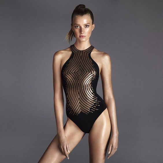 The Sirene underwired one-piece with intricate metallic detailing. Now available from laperla.com