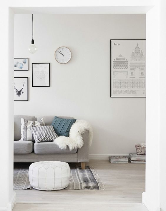 A Nordic Interior Living Room Picture Wall Posters White And Grey Ocean Green