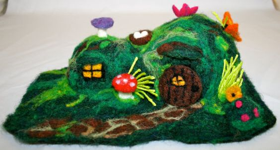 Needle Felted Hobbit House - this is more like a sculpture