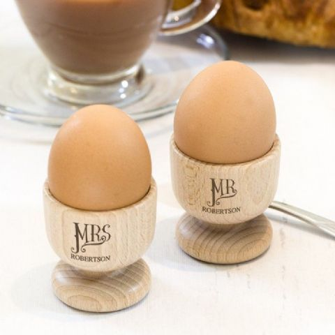 Personalised Dotty Mr And Mrs Wooden Egg Cup Set