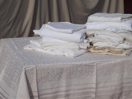 huge lot antique  vintage cotton & linen damask jacquard fabric tablecloths