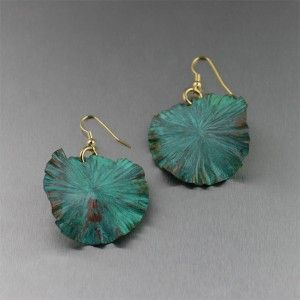 For our June 2012 jewelry giveaway, win these beautiful 2 inch long Apple Green Patinated Copper Lily Pad Earrings by entering your email address on any pop-up hang-tag that appears on http://www.handmadecopperjewelry.com