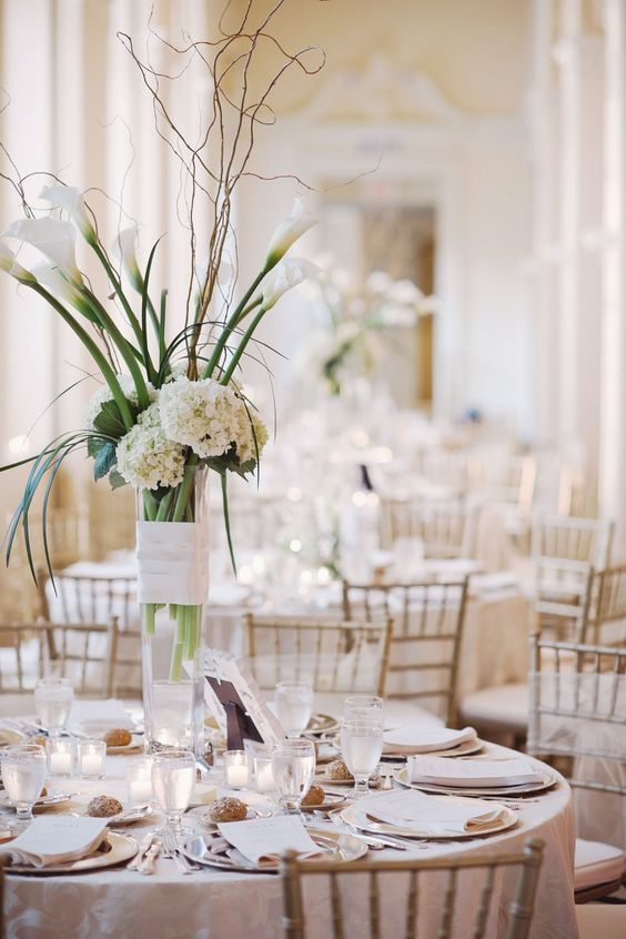 Tall white wedding centerpiece ideas flower and