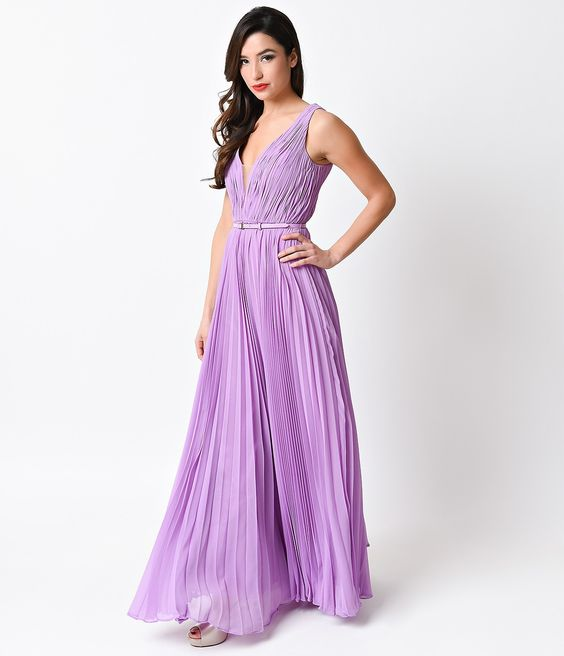 http://www.unique-vintage.com/lilac-pleated-chiffon-illusion-deep-v-neck-grecian-long-dress.html