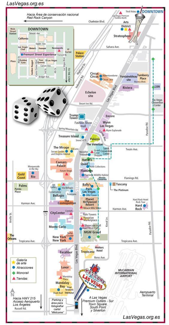 Mapa del Strip de Las Vegas con la localización de hoteles, puntos de interés cercanos, recorrido del tranvía, galerías de arte, tiendas, aeropuerto...: