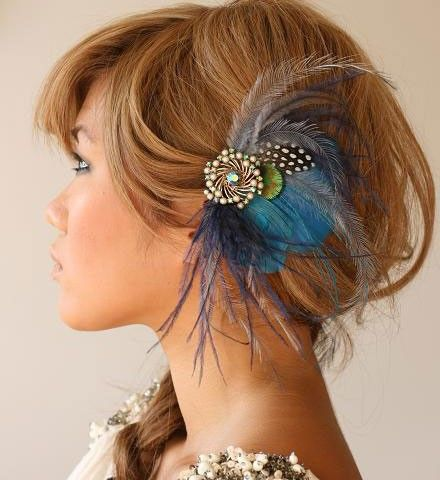 Your something blue - a one of a kind feather headpiece