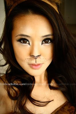 From head to toe lion halloween makeup tutorial playing dress