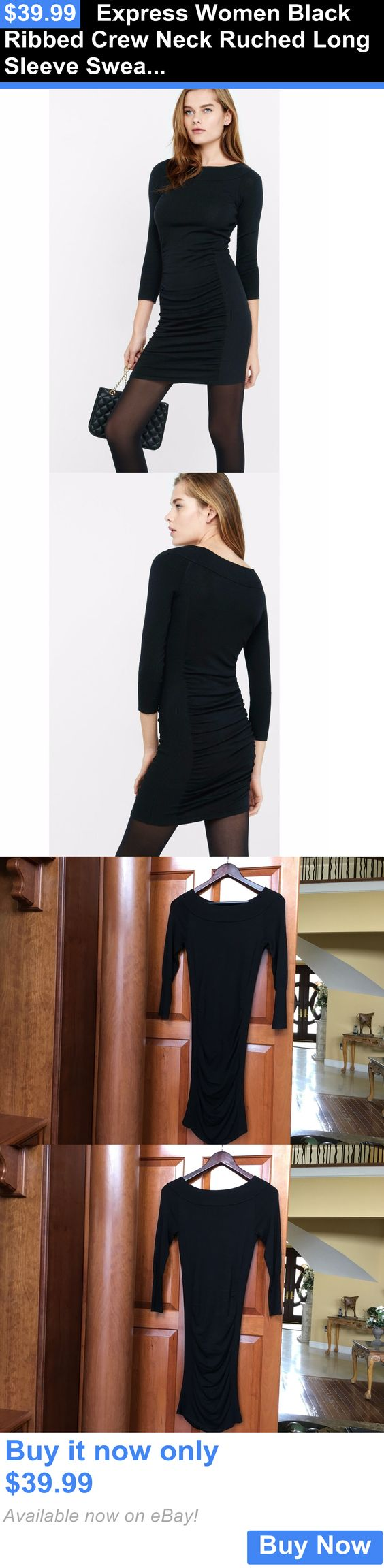 Clothing and accessories express women black ribbed crew neck