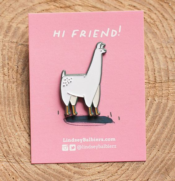 Llama Enamel Lapel Pin by  Lindsey Balbierz on Etsy // What? You love llamas? Well, so do I! Your ultimate Llama enamel pin is here. This llama pin has custom color plating and rubber backing clutch. Great to add to your favorite denim jacket or tote bag