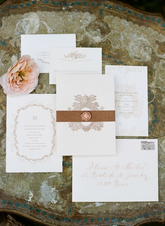 Elegant Bronze Wedding Invitation with a Royal Crest | Sylvie Gil Photography